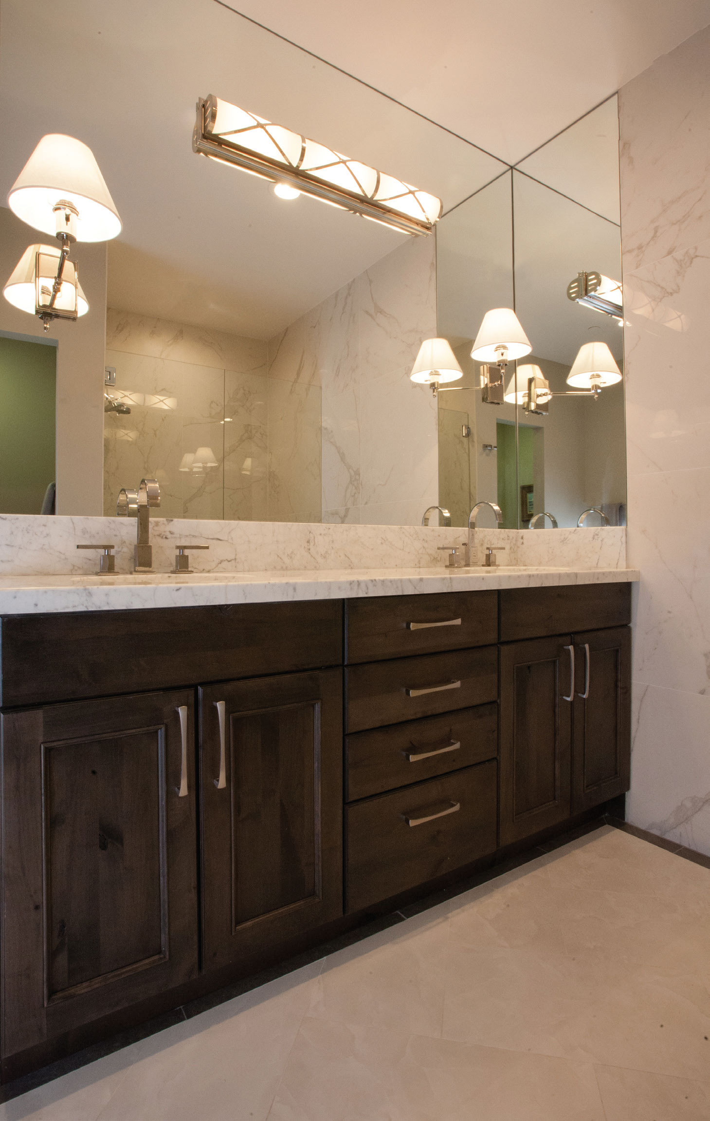 the loo western home journal an elegant bathroom by ketchum s design studio features a vanity with walnut stained cabinets pental calacatta extra tile carrara countertop