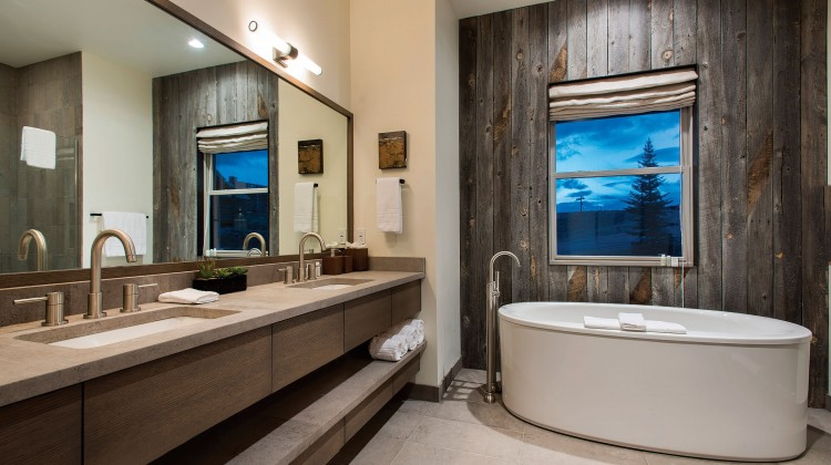 Ranch style bathroom with organic tub and wooden background