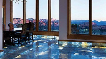 ImagiLux panels illuminate onyx flooring in this home overlooking Zion National Park in Utah. PHOTO Courtesy of Jerry Stubbs Construction.