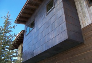Finishes change the character of steel cladding, as exemplified by this oxidized treatment by Teton Heritage Builders. PHOTO Courtesy of Teton Heritage Builders.