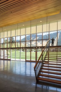 Sheer and open, a steel truss suspends the balcony of the Jackson Hole Performing Arts Pavilion's lobby. PHOTO David Agnello, Courtesy of DYNIA Architects