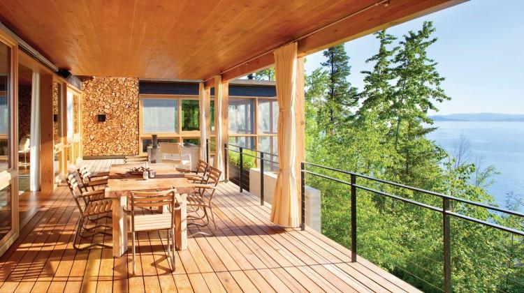 Bigfork Builders steel railing and steel-trimmed home on Flathead Lake