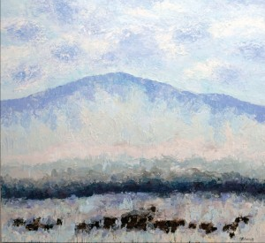 "Lima Angus #5 by Theodore Waddell, 66"" x 72"". Oil, encaustic on canvas at Gail Severn Gallery."