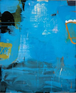 "Blueloosha by Gary Komarin, 60"" x 48"". Mixed media on canvas at Gail Severn Gallery"