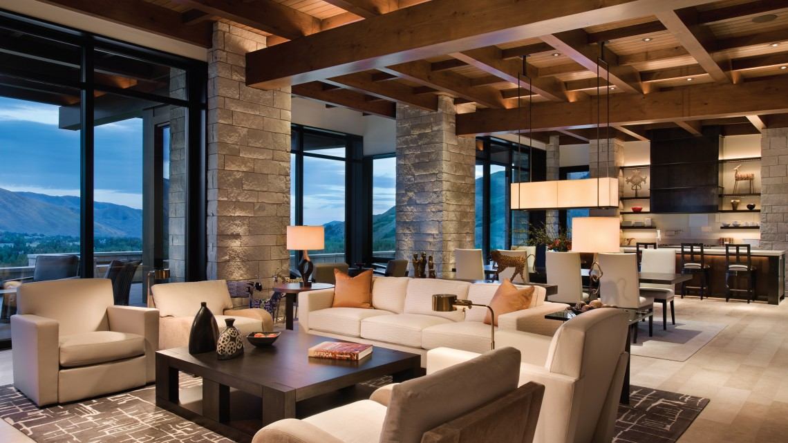"""This interior by Adaptive Design Group & Mclaughlin & Associates Architects exemplifies the ADAPTIVE® Method for lighting a room, layering various """"levels"""" of lighting, including architectural, decorative, art, and interior decoration. PHOTO Roger Wade Studio, Inc."""