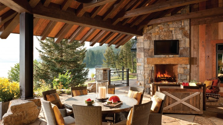 Castle Rock Ledge double-sided outdoor fireplace.
