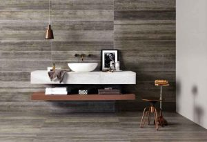 Original Style Tileworks wood-grain tile in Ash Tree Matte is used as both wall covering and flooring, by Inside Out Architecturals.