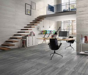 Summit Source's Cosmo Vision wood flooring in pickled grey offers a cool contemporary look.