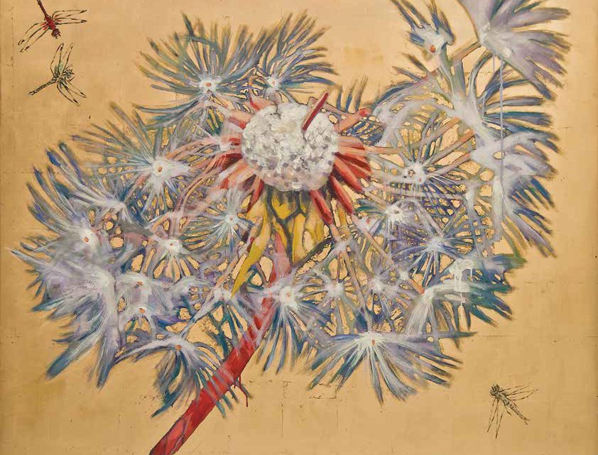 "Dandelion - Dragonfly by Hung Liu. Mixed media on panel, 60"" x 60"""