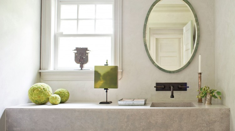 pops of green, natural tile, large mirror