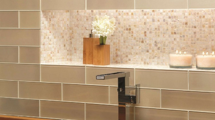 natural wood and layering of earth tone tile