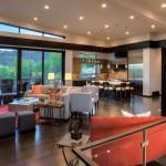showcase with orange furniture