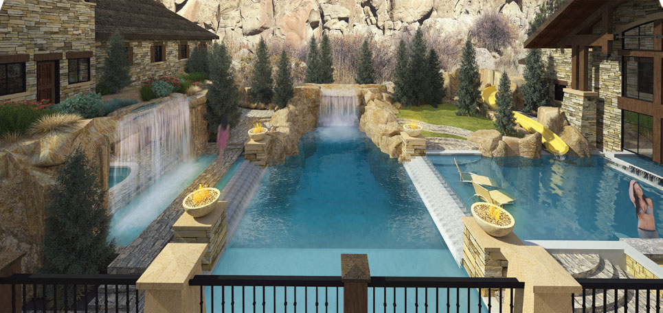 Waterfall into pool with edges of stone