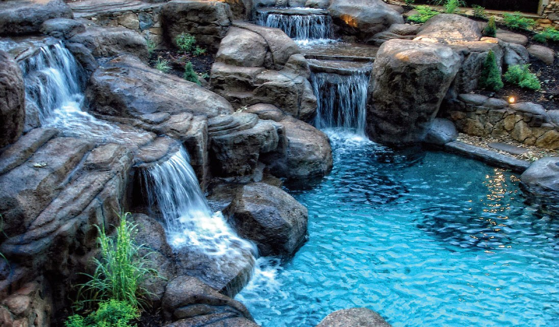 water falling over large stones
