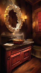 Refined and rustic, this guest bath by Rocky Mountain Builders offers a healthy dose of drama. PHOTO Gibeon Photography