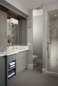 A neutral palette of rich greys are perfectly suited to this outstanding Carrara marble shower in this peaceful bathroom by Bigfork Builders. PHOTO Heidi Long / Longviews Studios