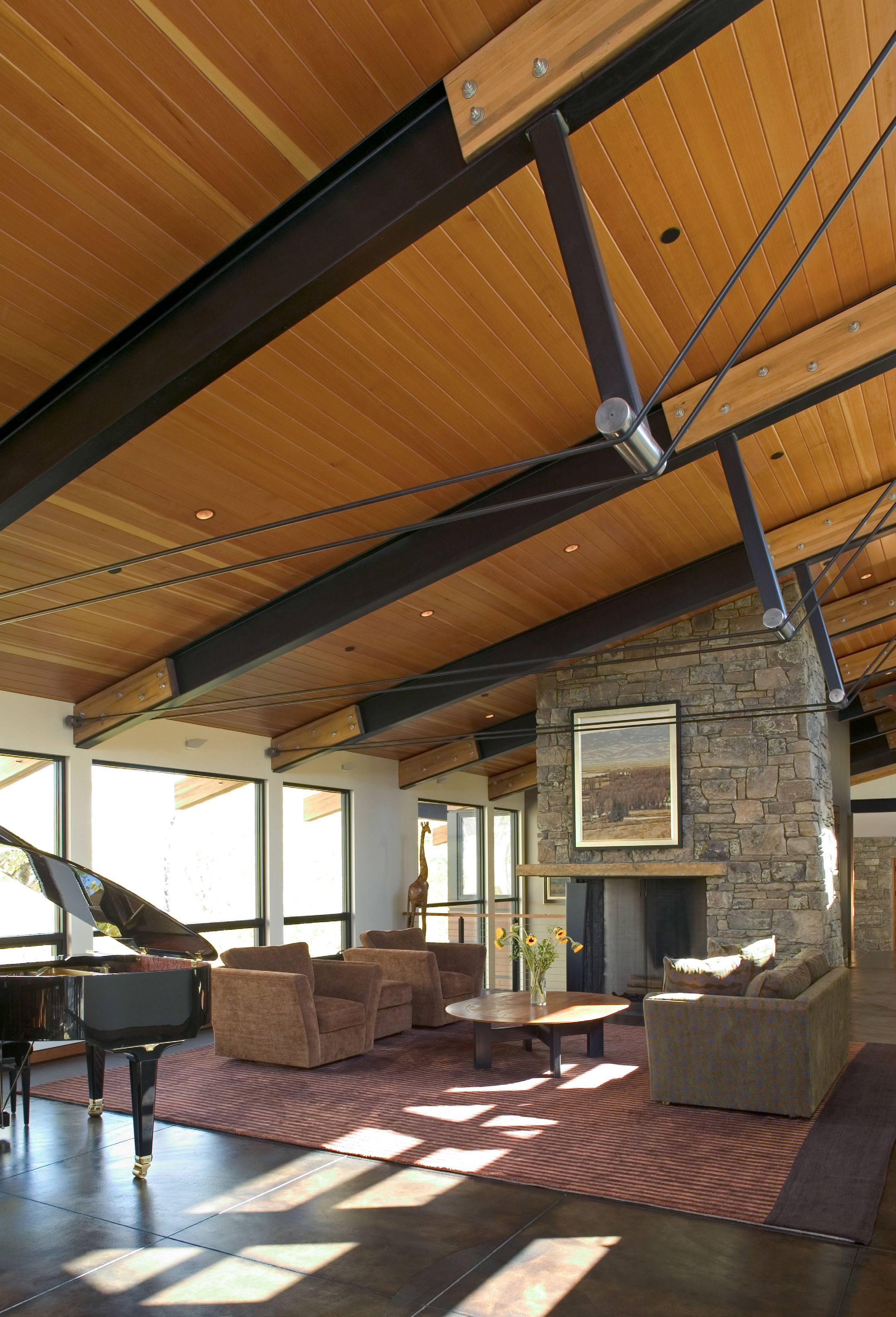Steel beam vaulted ceiling for House plans with exposed beams