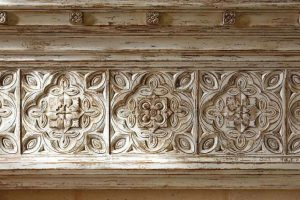 An intricate handcrafted wood detail from a Harker-designed home.
