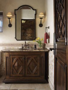 A bathroom cabinet created for a Harker-designed home is intricate and made with the highest quality of craftsmanship. To Pat Harker, the details make all the difference.