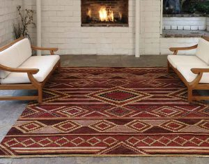A Southwest Collection rug made in Afghanistan from Utah Rugs adds character to this outdoor sitting area.