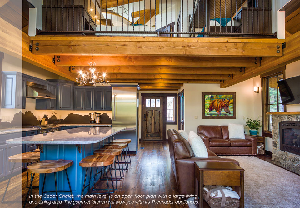 Snow Bear Chalets- Flathead Valley Kitchen and Living Room