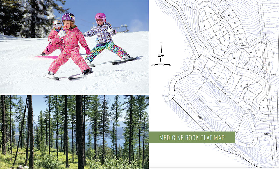 MEDICINE ROCK- Flathead Valley Skiing, Trees and Lot Drawing