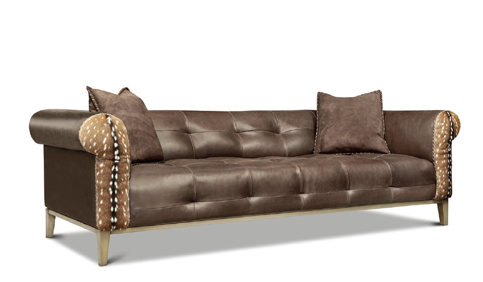 On The Hunt- Flathead Valley Brown Sofa