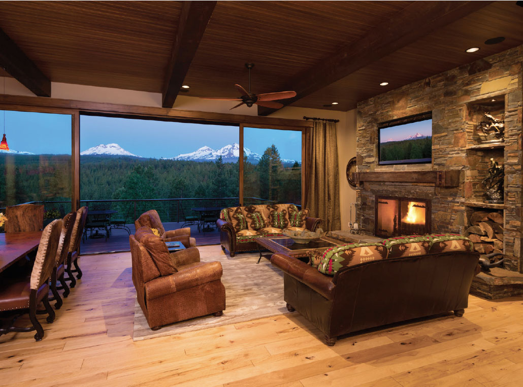 Sunrise Construction of Oregon- Bend Living Room and Mountains